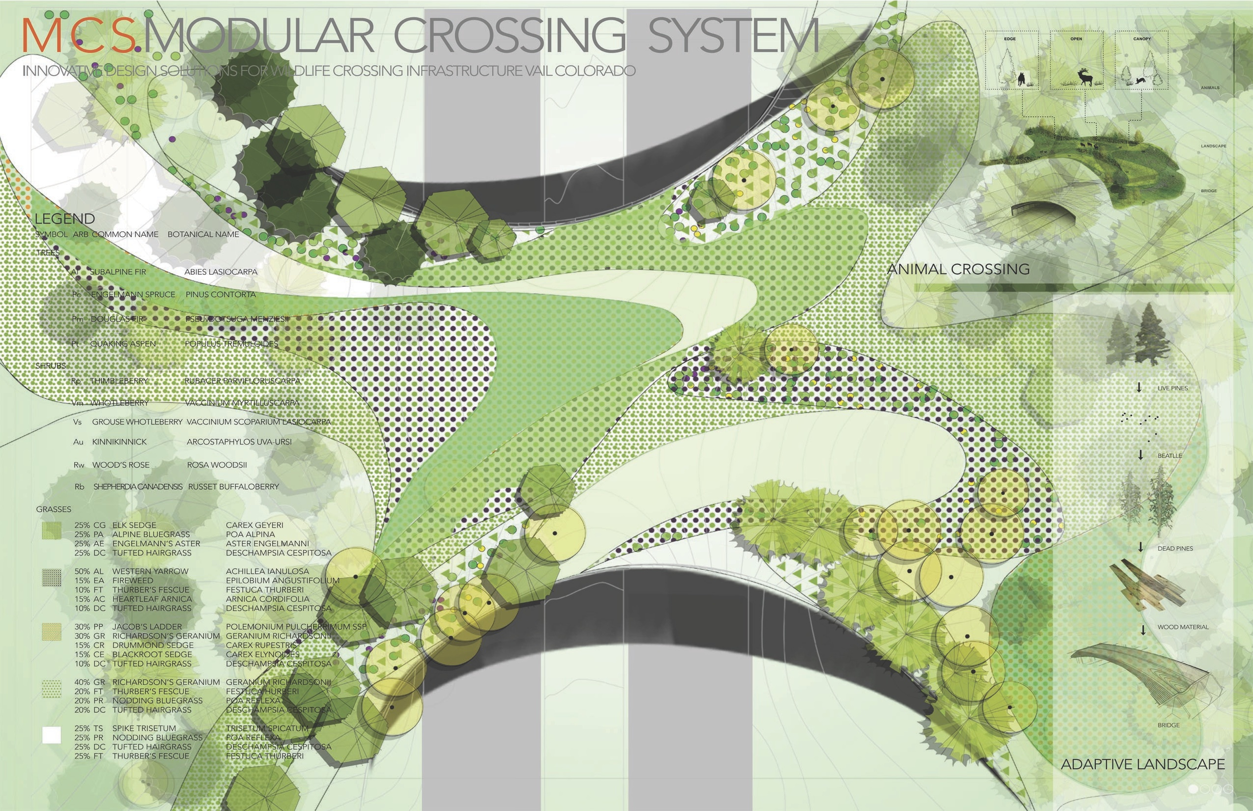 New materials wildlife crossing structures arc for Landscape design contest