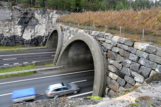 Near Oslo, Norway, expressway with wildlife crossing